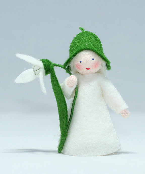 Snowdrop Fairy - Eco Flower Fairies, handmade wool felt Waldorf dolls
