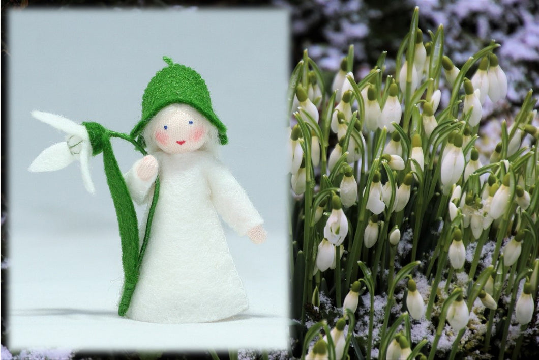 Snowdrop Fairy from Eco Flower Fairies, handmade wool felt dolls