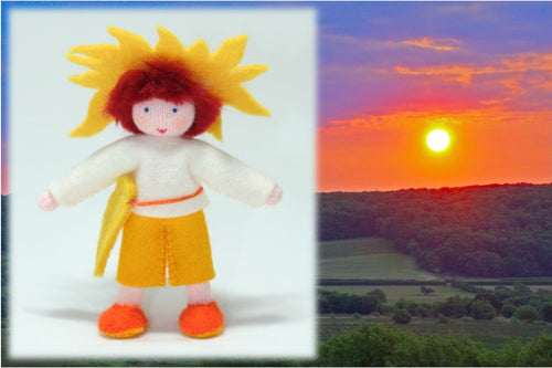 Sun Child - Eco Flower Fairies, handmade wool felt Waldorf dolls
