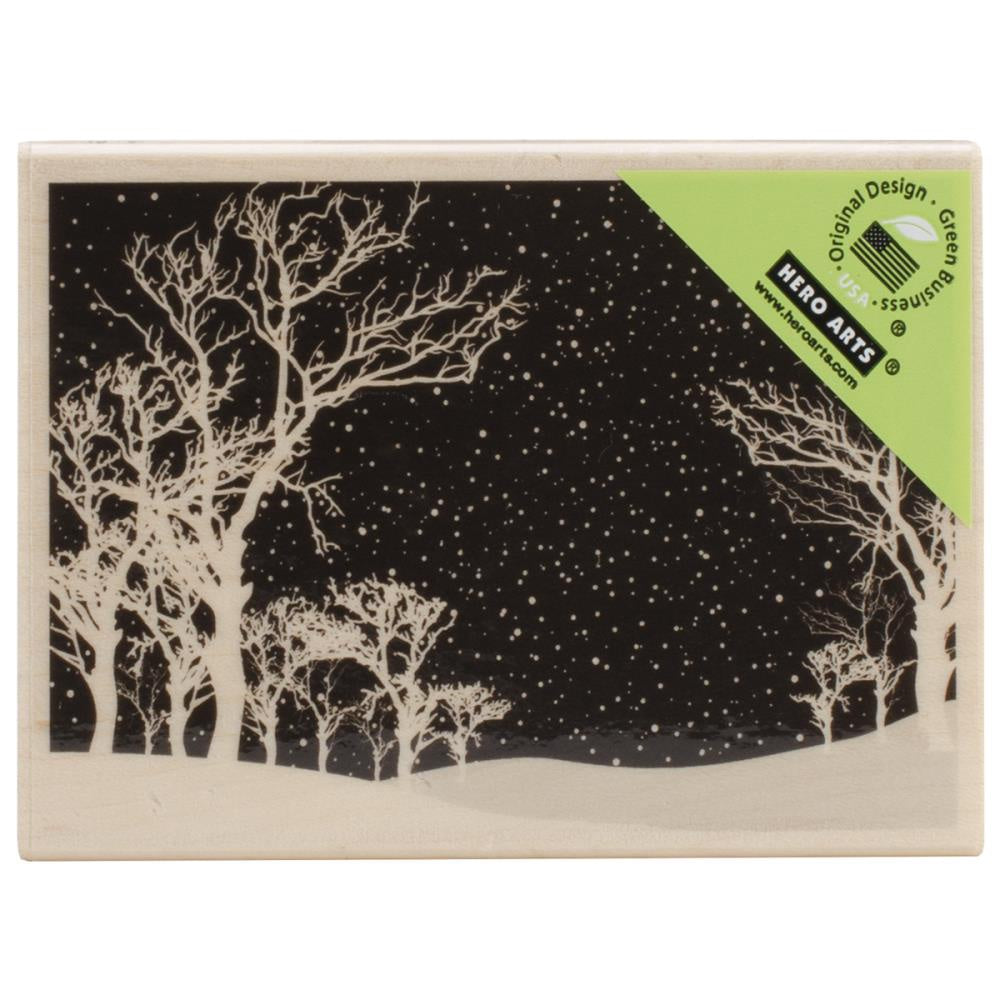 Mounted Rubber Stamp Snowy Night