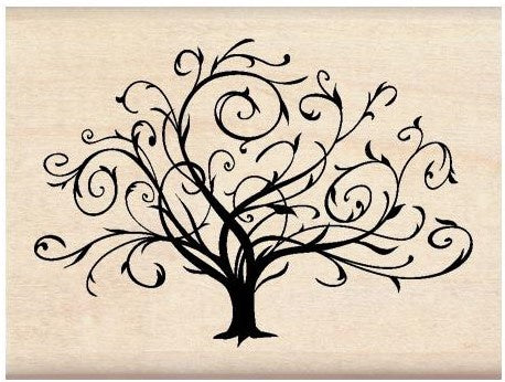 Inkadinkado Mounted Rubber Stamp Flourished Fall Tree