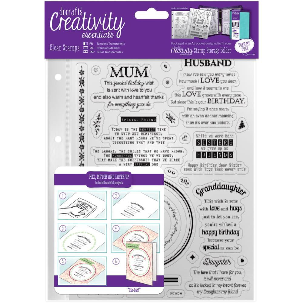 Creativity Essentials A5 Clear Stamps Verses