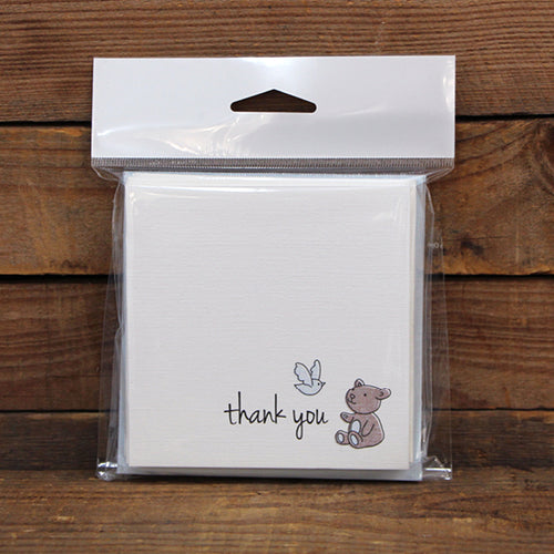 Thank You Square Printed Card Pack Petite Pink Pack 10
