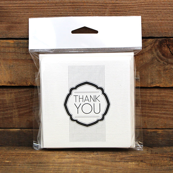 Thank You Deco Square Printed Card Pack Ivoire Pack 10
