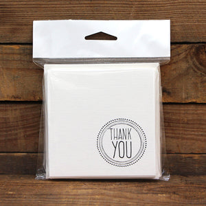 Thank You Stamp Square Printed Card Pack Blanc Pack 10