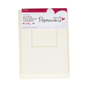 A6 Apeture Cards w Envelopes Trifold Window 10pk - Cream