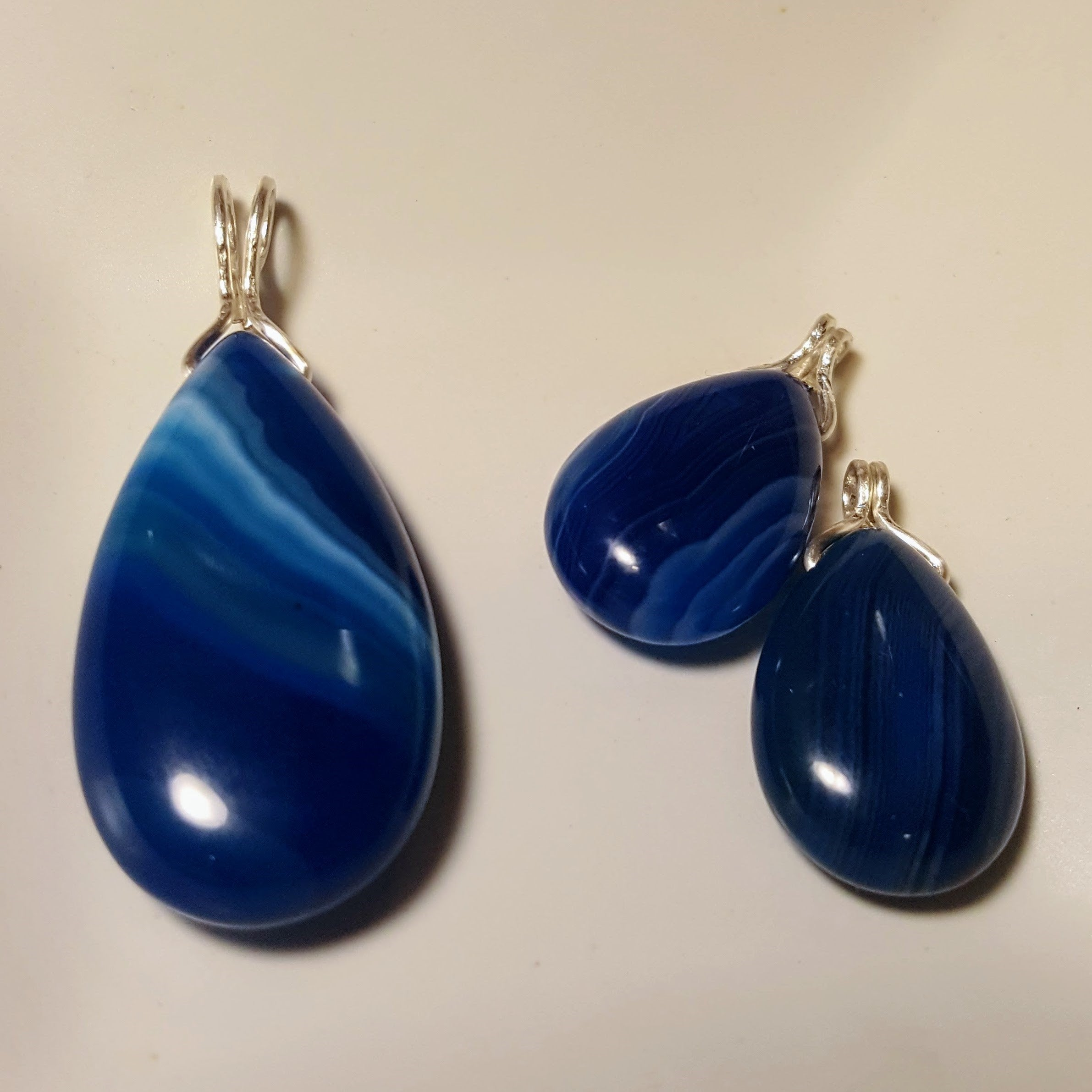 Simple Blue Onyx Pendant and Earrings Set