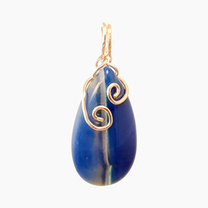 Double Spiral Blue Onyx Pendant