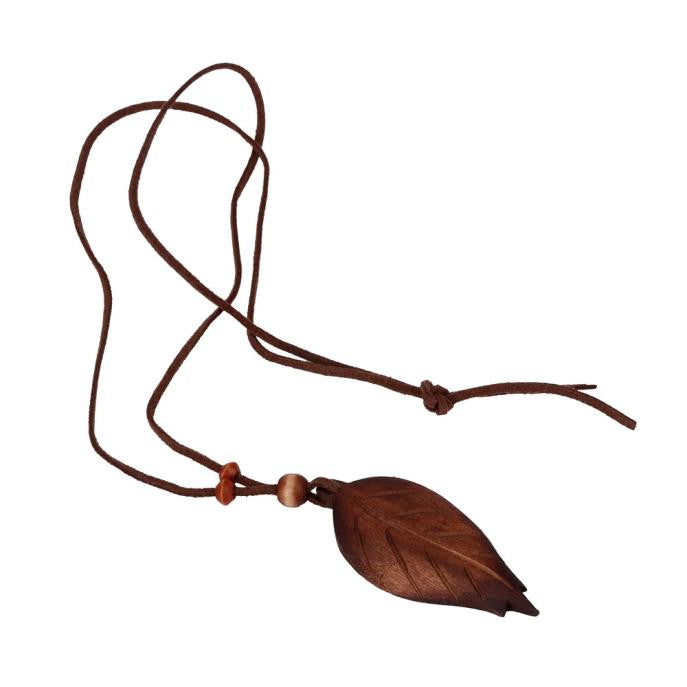 Wooden Leaf Handmade Sweater Necklace