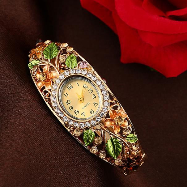 Women Bangle Crystal Flower Bracelet Quartz Watch Wristwatch