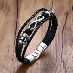 Multistrand Leather Braided Rope Bracelet Infinity & Hematite  Wristband Unisex