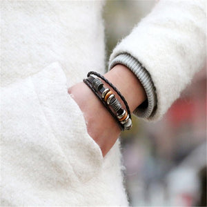 Layered leather unisex bracelet Wood Accent