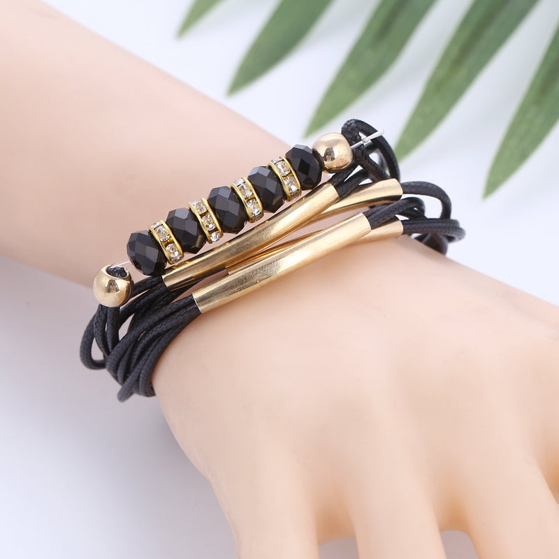 Layered Braided Leather with gold and crystal accents Bracelet