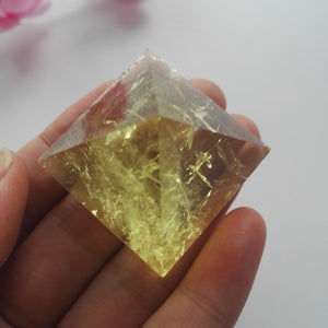 50g Natural Clear Citrine Pyramid Quartz Yellow Crystal