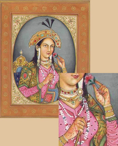 Mumtaz Mahal, 17th century Empress consort of the Mughal Empire, wearing henna on her hands