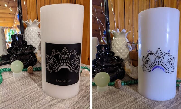 Before and after collage of decorating a candle with henna stencil and paint