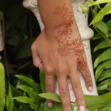 Load image into Gallery viewer, Athena - close up of back of hand henna design