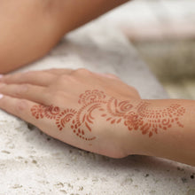 Load image into Gallery viewer, Athena - close up of wrist henna design