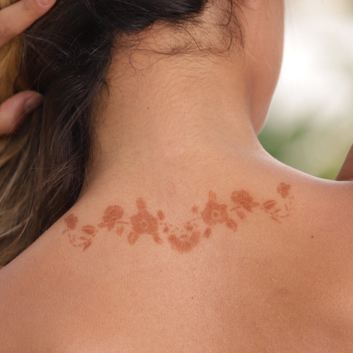 Azalea - floral henna tattoo on back