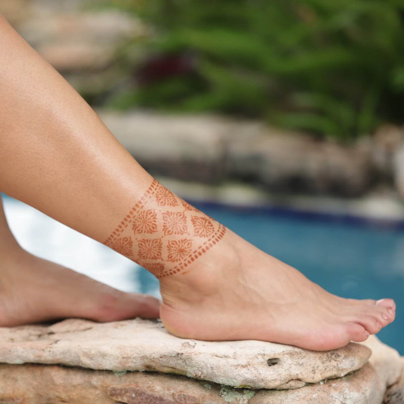 Courage - ankle with bangle henna design