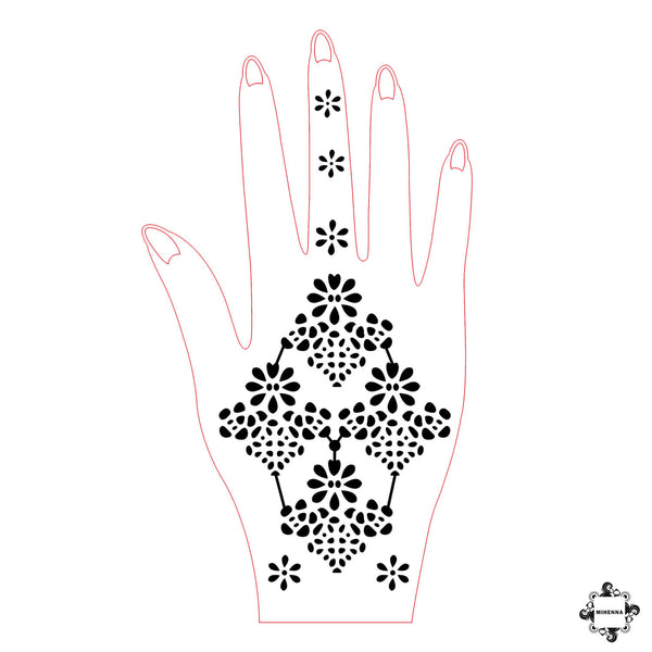 Flower Power - floral henna design sticker stencil