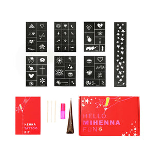 Kids Henna Tattoo Kit - Perfectly sized stencils with organic henna and coconut oil