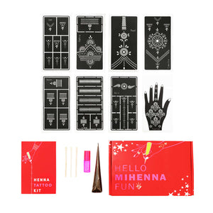 Ring Henna Tattoo Kit - variety of jewelry-inspired henna stencils plus organic henna paste and coconut oil