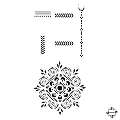 Passion Fruit - mandala and rings henna design sticker stencil