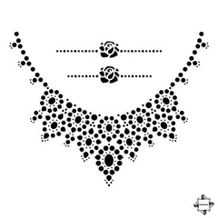 Princess - necklace and rings henna design sticker stencil