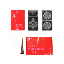 Load image into Gallery viewer, Try Mihenna with our Sampler Henna Tattoo Kit and get two henna stencils and organic henna paste