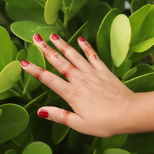 Load image into Gallery viewer, Wren - Ring henna tattoos on fingers with green leaf background
