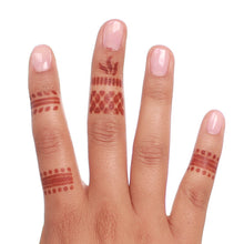 Load image into Gallery viewer, Wren - various ring henna designs on hand