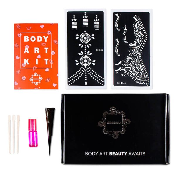 Build Your Own DIY Henna Kit with your choice of two henna sticker stencils