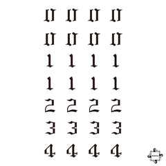Gothic Numbers Henna Tattoo Design 1 - 4
