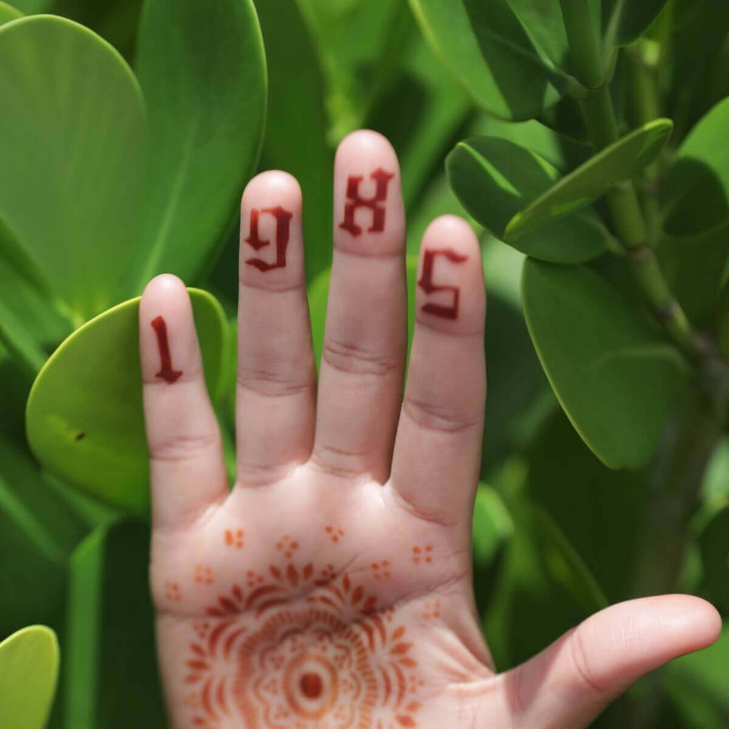 Gothic Numbers Henna Tattoo on fingertips