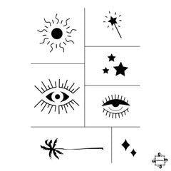 Sun - henna stencil designs for small temporary tattoos