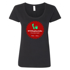 """It's Our Turn"" logo Ladies fit black t-shirt"
