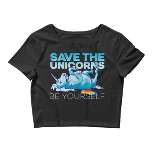 Women's Save The Unicorns Crop Tee - Shirts - Digibilly
