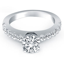 Load image into Gallery viewer, 14k White Gold Diamond Micro Prong Cathedral Engagement Ring