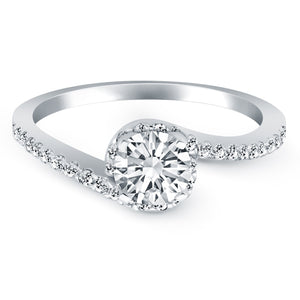 14k White Gold Bypass Swirl Diamond Halo Engagement Ring