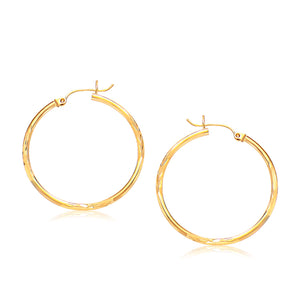 14k Yellow Gold Fancy Diamond Cut Slender Large Hoop Earrings (30mm Diameter)