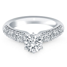 Load image into Gallery viewer, 14k White Gold Triple Row Pave Diamond Engagement Ring