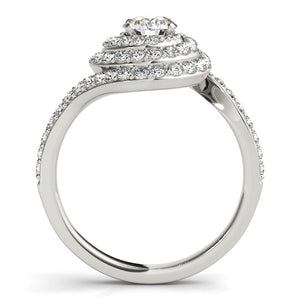 14k White Gold Round Diamond Spiral Design Engagement Ring (1 1/8 cttw)