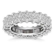 Load image into Gallery viewer, Exquisite 14k White Gold Emerald Cut Diamond Eternity Ring