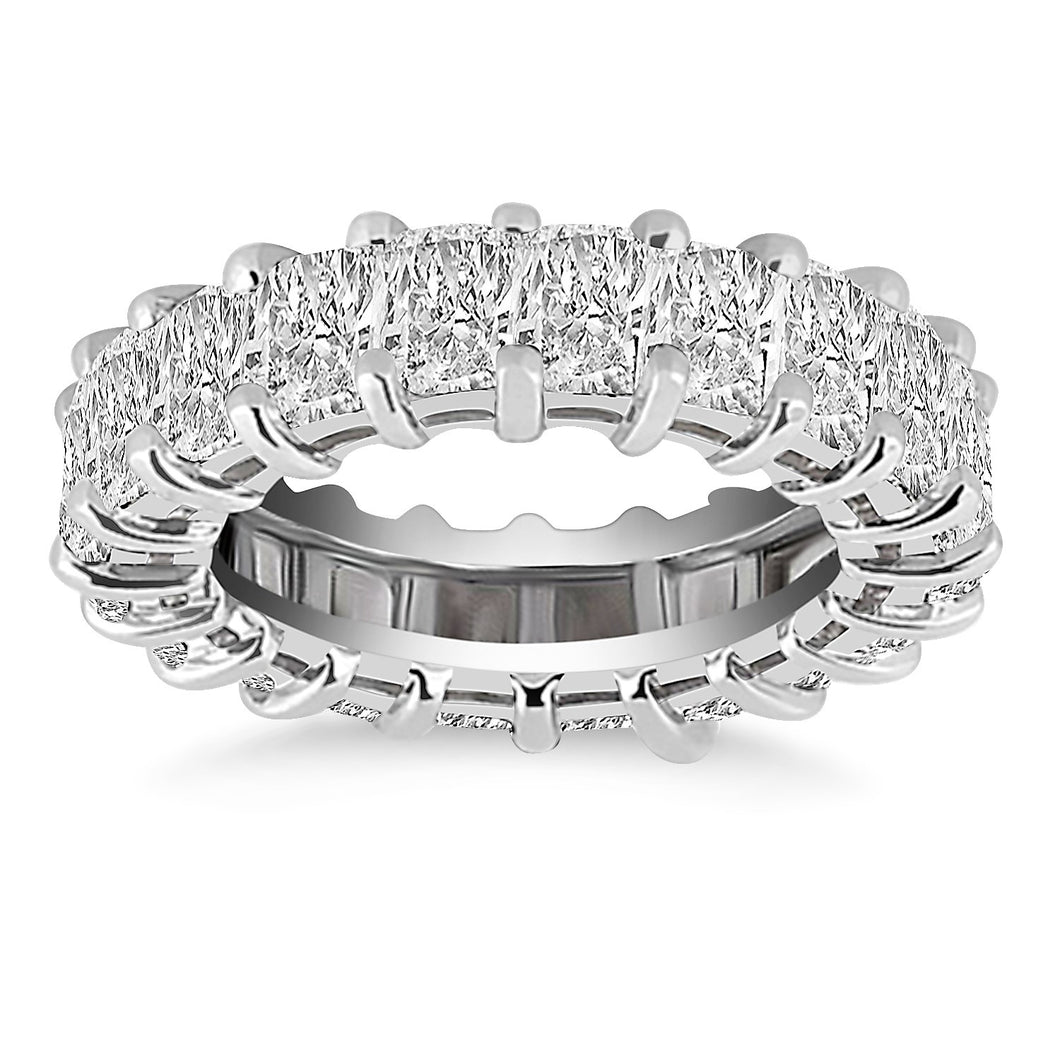 Exquisite 14k White Gold Emerald Cut Diamond Eternity Ring
