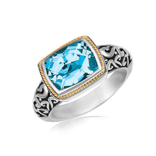 Load image into Gallery viewer, 18k Yellow Gold and Sterling Silver Rectangular Blue Topaz Milgrained Ring