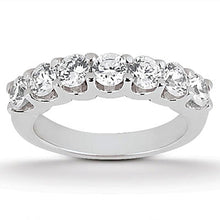 Load image into Gallery viewer, 14k White Gold Diamond Scalloped Shared U Prong Setting Wedding Ring Band