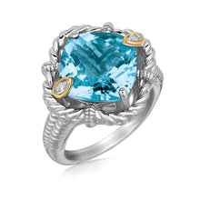 Load image into Gallery viewer, 18k Yellow Gold and Sterling Silver Ring with Cushion Blue Topaz and Diamonds