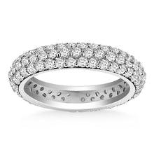 Load image into Gallery viewer, 14k White Gold Cupola Round Diamond Eternity Ring in 14k White Gold