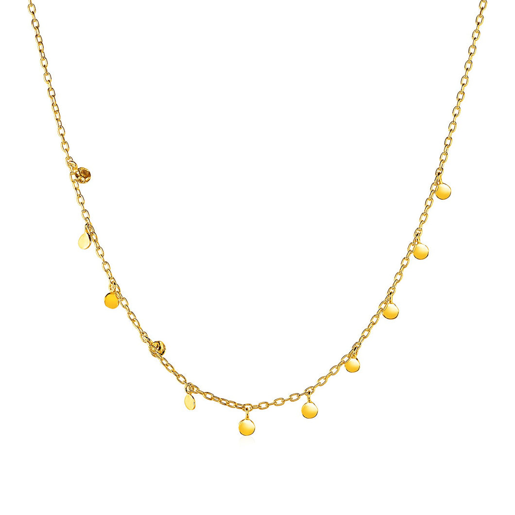 Choker Necklace with Hammered Beads in 14k Yellow Gold